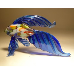Glass Blue Exotic Fish Figurine