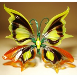 Yellow and Red Glass Butterfly Figurine