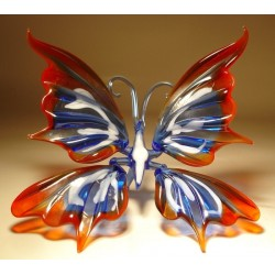 Blue with White & Red Glass Butterfly Figurine