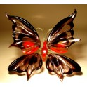 Black, Red & Clear Glass Butterfly Figurine