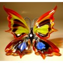 Red, Yellow and Blue Glass Butterfly Figurine