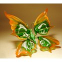 Green and Orange Glass Butterfly Figurine