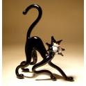 Black Glass Cat Figurine with Back Curved