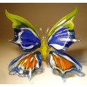 Yellow, Blue and Red Glass Butterfly