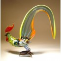 Glass Rooster with a Light Blue Tall Tail