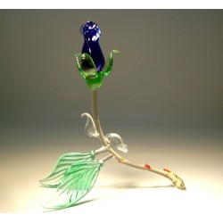 Blue Glass Rose Bud