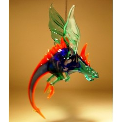 Glass Hanging Winged Dragon Ornament