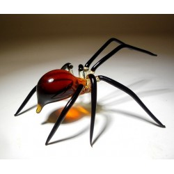Amber Glass Spider Figurine