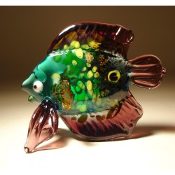 Glass Green and Purple Tropical Fish Figurine
