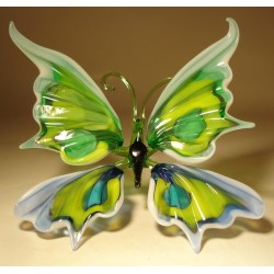 White, Yellow, Green & Blue Glass Butterfly Figurine