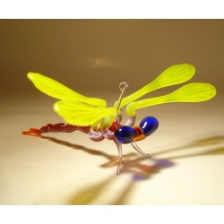 Yellow Glass Dragonfly Ornament