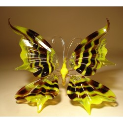 Yellow with Black Stripes Glass Butterfly Figurine
